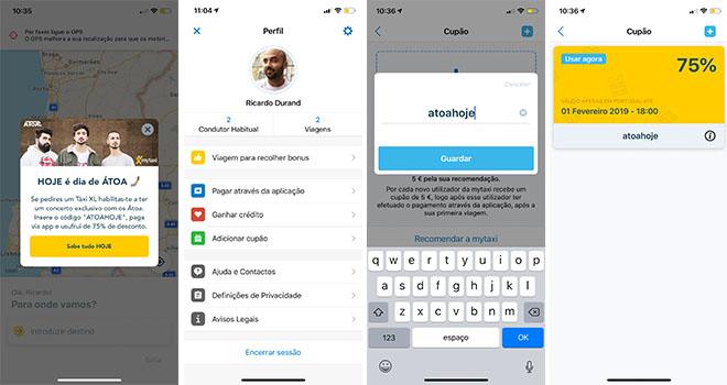 mytaxi lisboa atoa desconto app