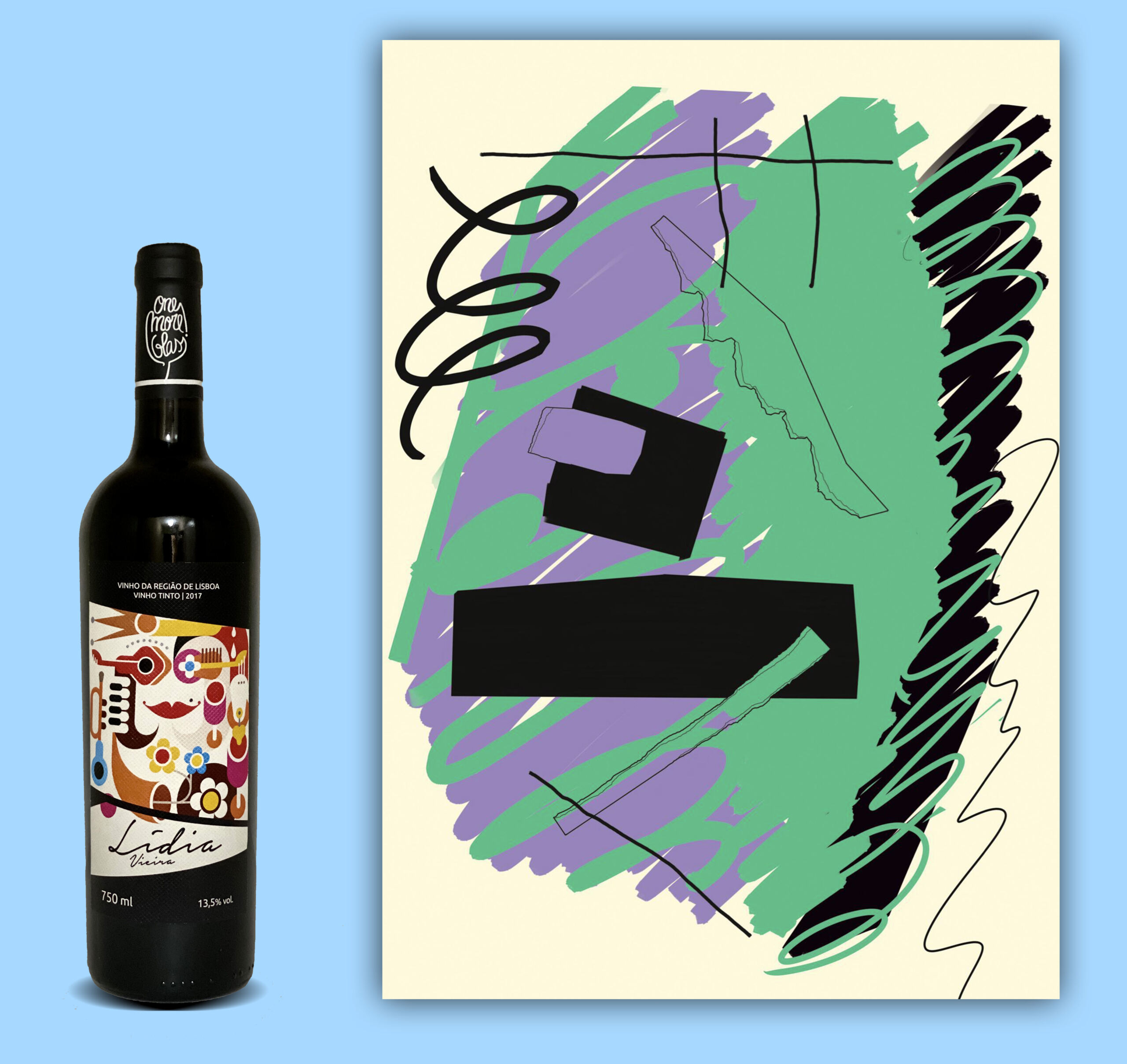 ©VU / DR. | O vinho da One More Glass e a serigrafia de Mariana Simão disponíveis nos kits.